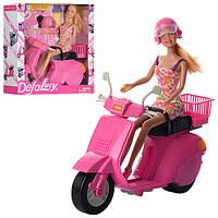 Детская кукла Lucy на скутере Defa. Яркая розовая кукла как барби подарок для девочки от 3 лет