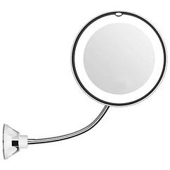 Гибкое зеркало на присоске с 5x увеличением и подсветкой LED MIRROR 5X