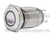 TYJ 16-262 Кнопка металлическая плоская с подсветкой, 2NO + 2NC, желтая 220V.
