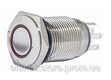 TYJ 16-262 Кнопка металлическая плоская с подсветкой, 2NO + 2NC, красная 220V.