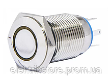 TYJ 16-362 Кнопка металлическая плоская с фиксац. 2NO + 2NC, с подсветкой, желтая 220V.