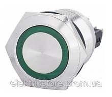 TYJ 22-271 Кнопка металлическая плоская с подсветкой, 1NO + 1NC, зеленый 220V.