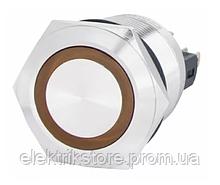 TYJ 22-271 Кнопка металлическая плоская с подсветкой, 1NO + 1NC, желтая 220V.