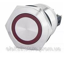 TYJ 22-271 Кнопка металлическая плоская с подсветкой, 1NO + 1NC, красная 220V.