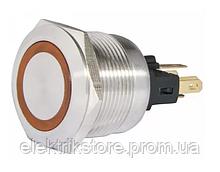 TYJ 22-271 Кнопка металлическая плоская с подсветкой, 1NO + 1NC, желтая 24V.