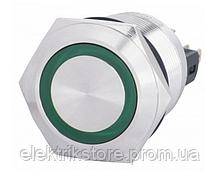 TYJ 22-271 Кнопка металлическая плоская с подсветкой, 1NO+1NC, зеленая  24V.
