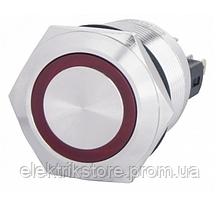 TYJ 22-271 Кнопка металлическая плоская с подсветкой, 1NO+1NC, красная 24V.