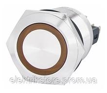TYJ 22-371 Кнопка металлическая плоская с фиксац. 1NO + 1NC, с подсветкой, желтая 220V.