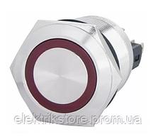 TYJ 22-371 Кнопка металлическая плоская с фиксац. 1NO + 1NC, с подсветкой, красная 220V.