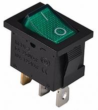 KCD1-2-101N GR/B  220V Переключатель 1 клав. зеленый с подсветкой