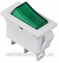 KCD3-101N-13 GR/WH 220V Переключатель 1 клав. зеленый с подсветкой