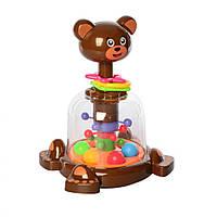 Волчок детская музыкальная Медвежонок, развивающая игрушка для детей от 1 года, SL83012