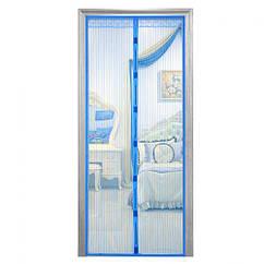 Москитная сетка дверная на магнитах 90*210см MHZ WHW97868 Blue