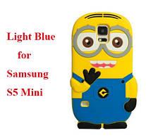 Объемный 3D силиконовый чехол для Samsung S5 mini Galaxy Миньон светлый