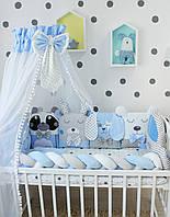 Балдахин в кроватку в голубом цвете с пампонами  2923