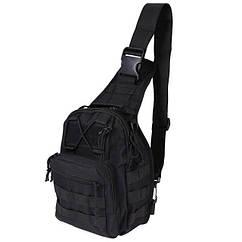 Рюкзак-сумка на одно плечо для велоспорта, путешествий, туризма, кемпинга Спартак 600D Black