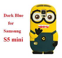 Объемный 3D силиконовый чехол для Samsung S5 mini Galaxy Миньон темный