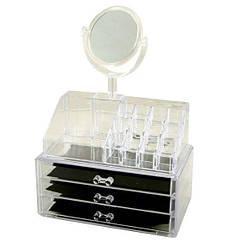 Органайзер для косметики акриловый настольный GW MHZ 666, с зеркалом