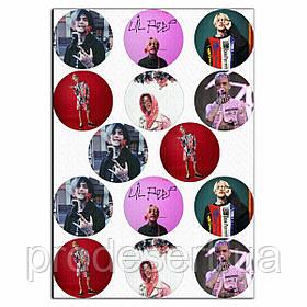 Капкейки-6 см Lil Peep 1 вафельна картинка