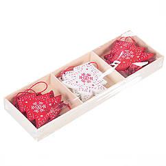 Набор новогодних украшений-подвесок Елочки MHZ 0451j в коробке, микс 9 шт. (6*6 см)