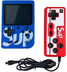Игровая консоль синяя с красным с джойстиком MHZ GAME SUP 6927, 400 восьмибитных игр