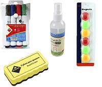Набор для маркерно-магнитных досок и флипчартов (4 -ри маркера , губка, магниты, СПРЕЙ ) KLERK