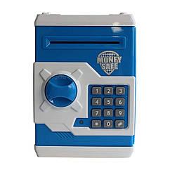 Электронная копилка сейф с кодовым замком Money Safe, бело-синий