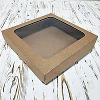 Коробка для пирогов, чизкейков, пирожков КРАФТ  250х250х55 мм.