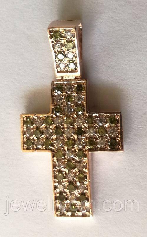 Подвес крест 411740ЮМз, золото 585 проба, кубический цирконий