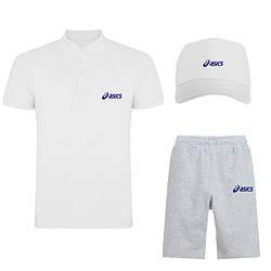 Мужской костюм тройка кепка поло и шорты Асикс (Asics), летний мужской костюм, копия
