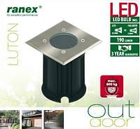 Встраиваемый ландшафтный светодиодный светильник Ranex Luton 102х102 с теплым светом, IP65