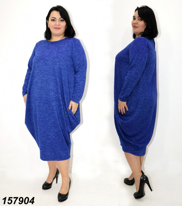 """Платье в стиле """"Бохо"""",свободное,батал,ярко синее 48-50, 52-54"""