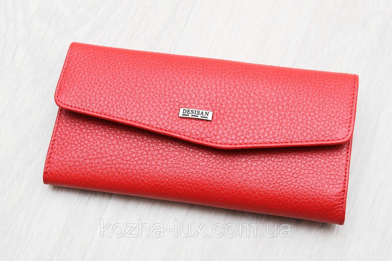 Жіночий тонкий шкіряний гаманець червоний Desisan Туреччина