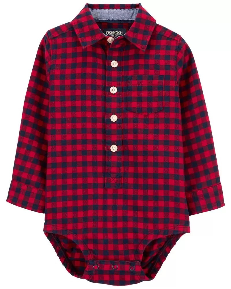 Стильна фланелева боді-сорочка ОшКош для хлопчика