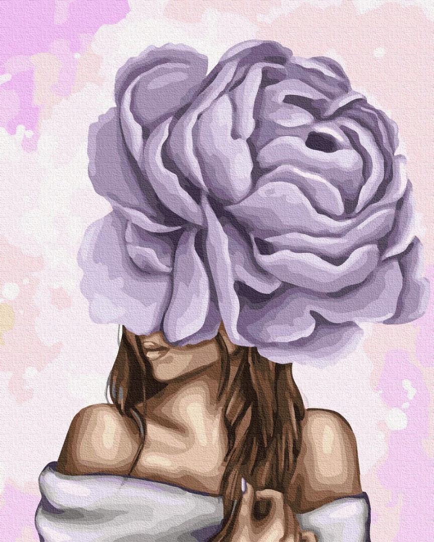 Картина по номерам Дама с фиолетовым пионом 40 х 50 см Brushme GX37546