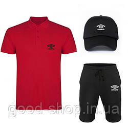 Мужской костюм тройка кепка поло и шорты Умбро (Umbro), летний мужской костюм, копия