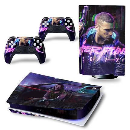 Виниловые наклейки для PlayStation 5 Disk Drive version и геймпада DualSense Cyberpunk 2077 PS5 skins, фото 2