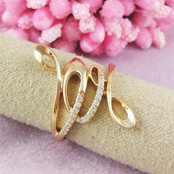 Кольцо Xuping Jewelry размер 17 Астра медицинское золото позолота 18К А/В 2-0402
