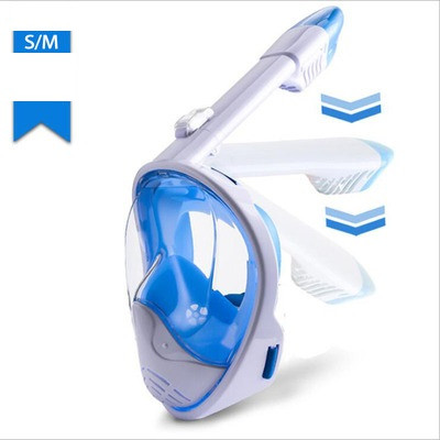 Маска SHOOT для подводного плавания (сноркелинга) с креплением для экшн камер - белая с синим S/M