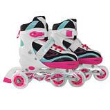 Роликовые коньки SportVida 4 в 1 SV-LG0032 Size 35-38 Pink-Blue SKL41-227436, фото 3