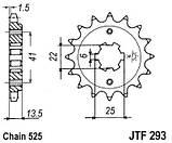 Звезда стальная передняя JT Sprockets JT JTF293.15, фото 2