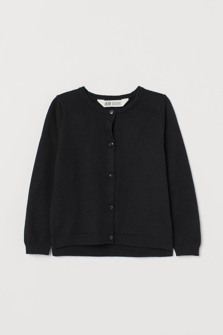 Вязанный черный кардиган на пуговичках для девочки НМ