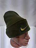 Теплая зимняя мужская шерстяная шапка Турция Оливковая, фото 8