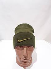 Теплая зимняя мужская шерстяная шапка Турция Оливковая