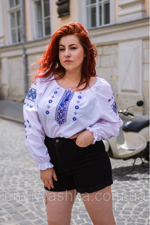 Блузка с вышивкой вышиванка для женщин пышных форм