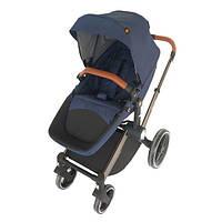 Детская коляска трансформер 2 в 1 для детей до 3-х лет с весом до 15 кг. с алюминиевым шасси (синий) Welldon