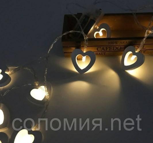 Гирлянда Сердечки 3м, 20 LED