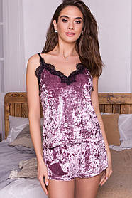 Лиловый женский комплект с майкой и шортами декорированный гипюром,  размер S, M, L, XL