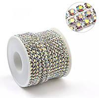 Цепочка с камнями.Цвет Сrystal AB ss12(3,2mm).1м
