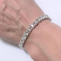 Серебряный женский браслет с цирконами 19.5, фото 1